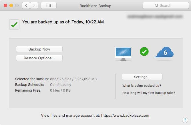 Backblaze photo backup