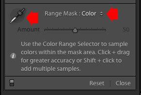Color Range Mask controls Lightroom Classic