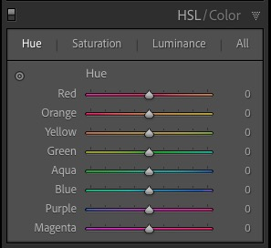 Lightroom Classic HSL tab