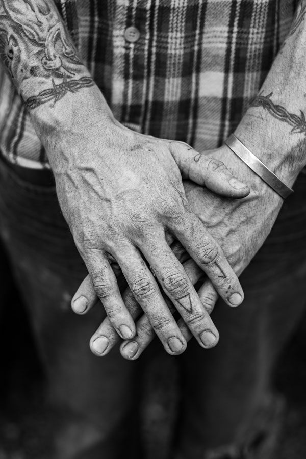 Black and white photo of hands