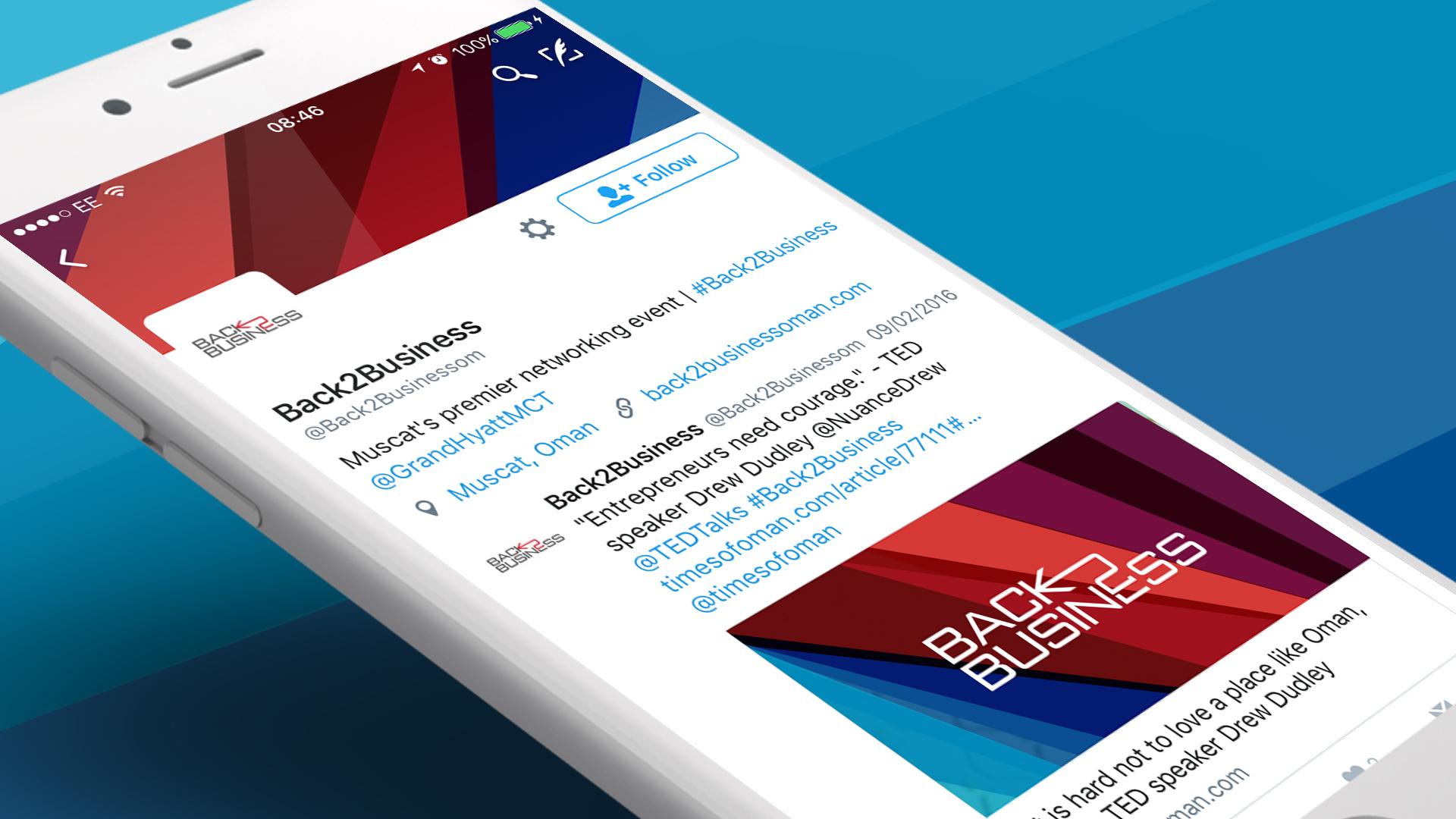 Back 2 Business Oman Branding Twitter