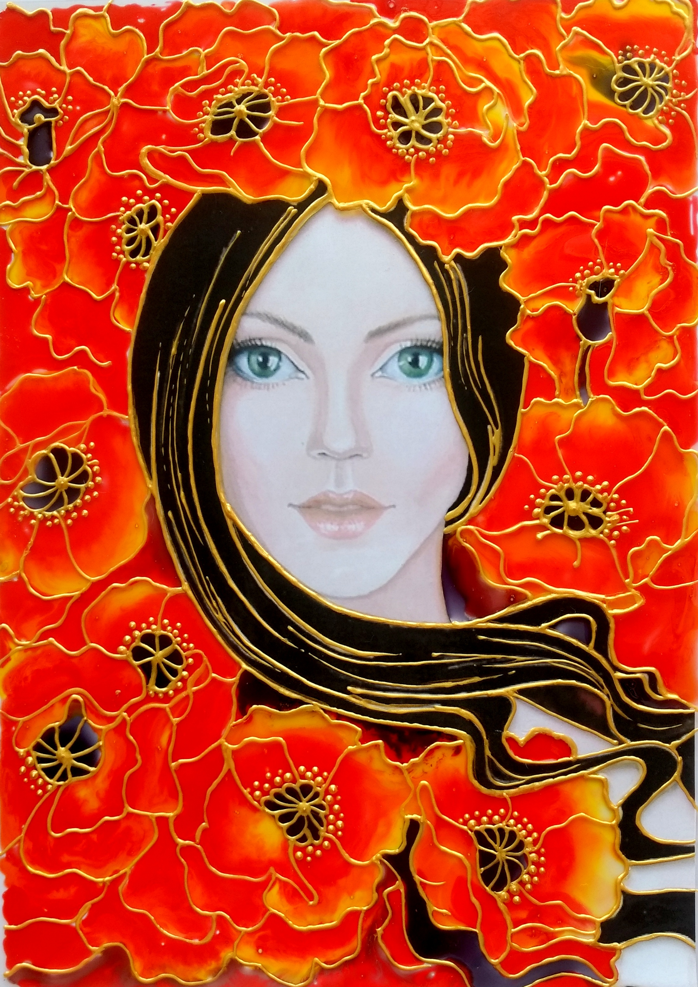 GLASS PAINTING OF LADY WITH RED BLOSSOMS CREATIVE ART