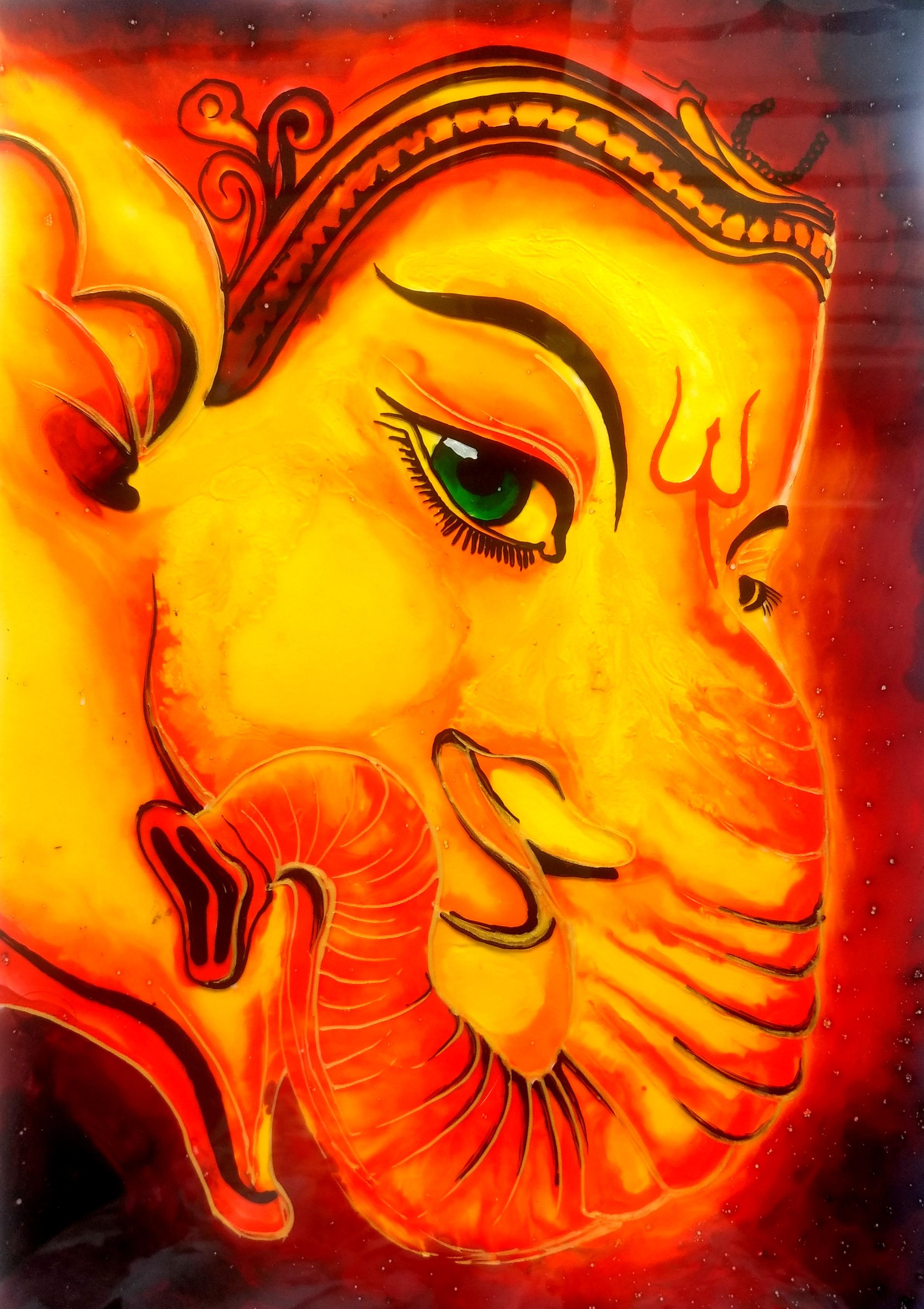 Lord Ganesha Glass Painting Creative Art