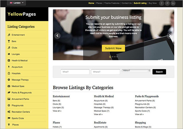 Yellow Pages WordPress Directory Theme