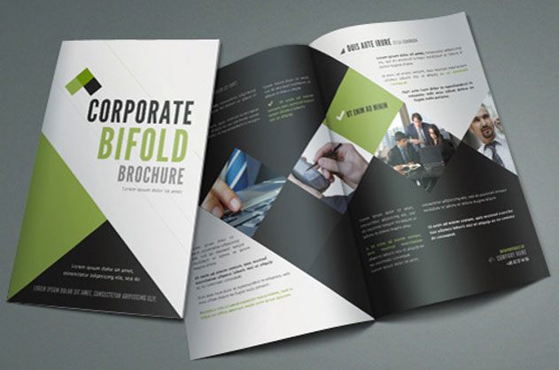 Corporate Bi Fold Brochure PSD mockup
