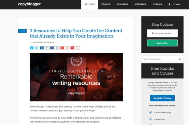Copy Blogger - Content and Digital Marketing Blog