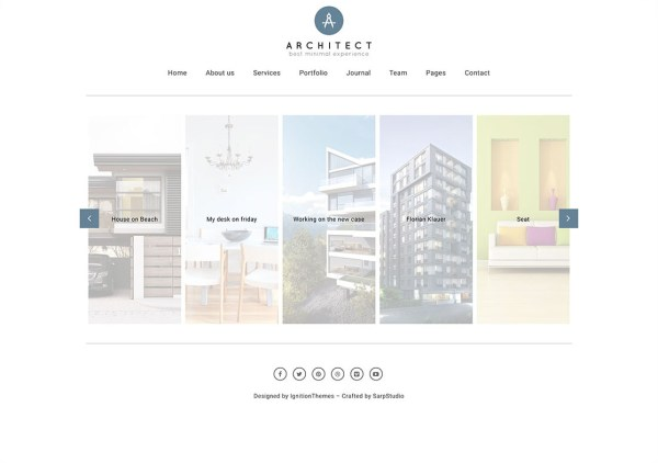 Architect horizontal portfolio website template