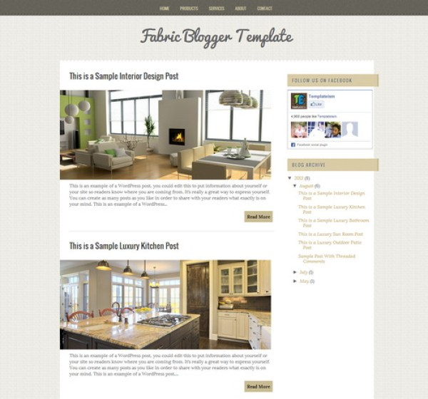 Fabric Free blogger template for chic and elegant design