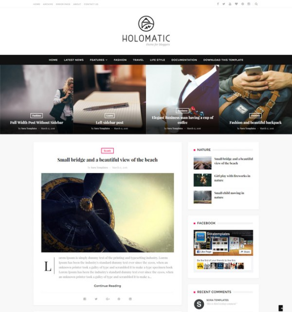 Holomatic Blogger theme for monetise their photography skills