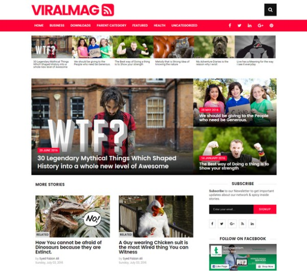 Viralmag blogger templates with lot of features