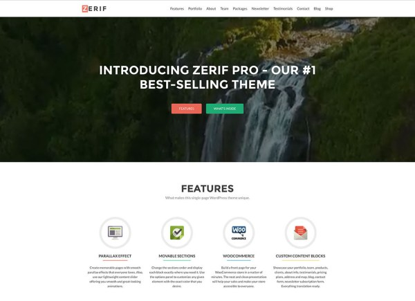Zerif Pro creative flat design multipurpose WordPress Theme
