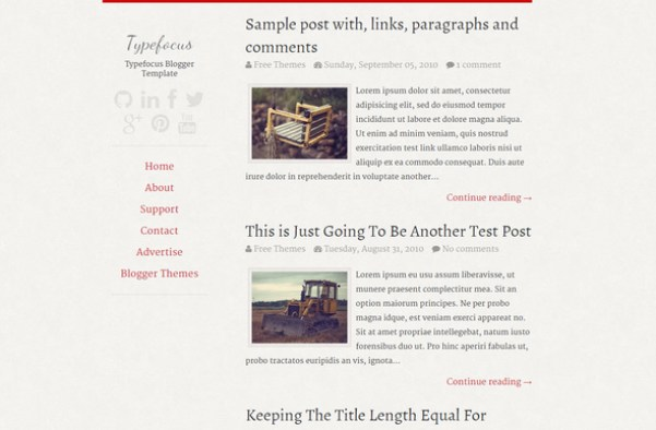 Super simple one column blogger template in the market