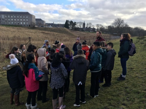 As part of the project, Simon took the class on a walk of the Den Burn pointing out some of the flooding and flood management issues. The pupils took recordings of the sounds they heard and learned verses of the Burnie Journey song along the way