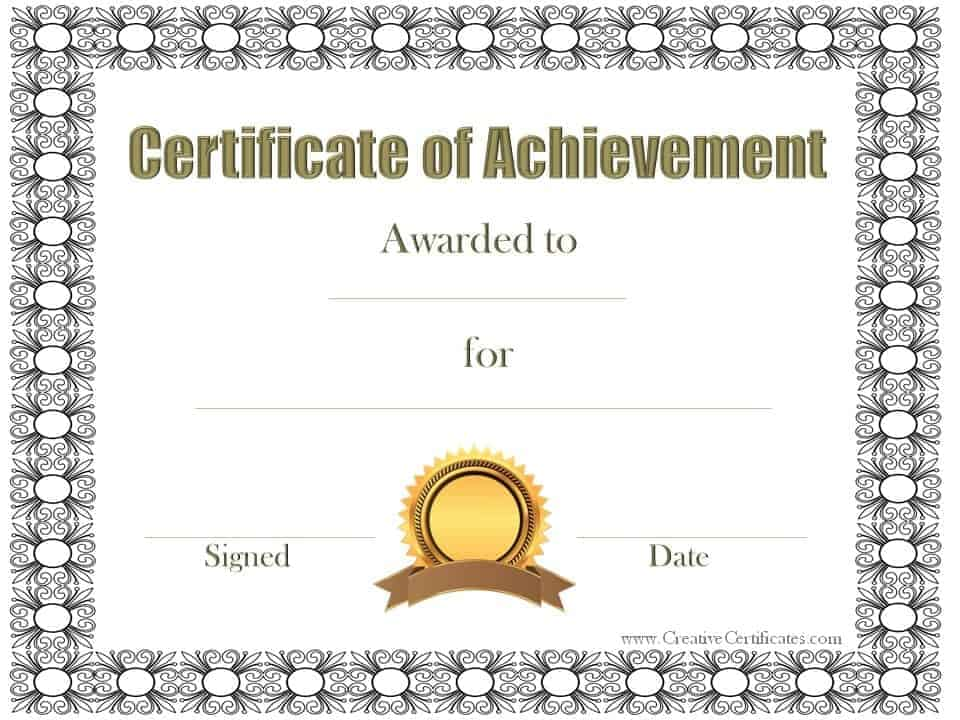 Free Printable Certificates Achievement Format For Purchase   Find And  Download Free Form Templates And Tested Template Designs.