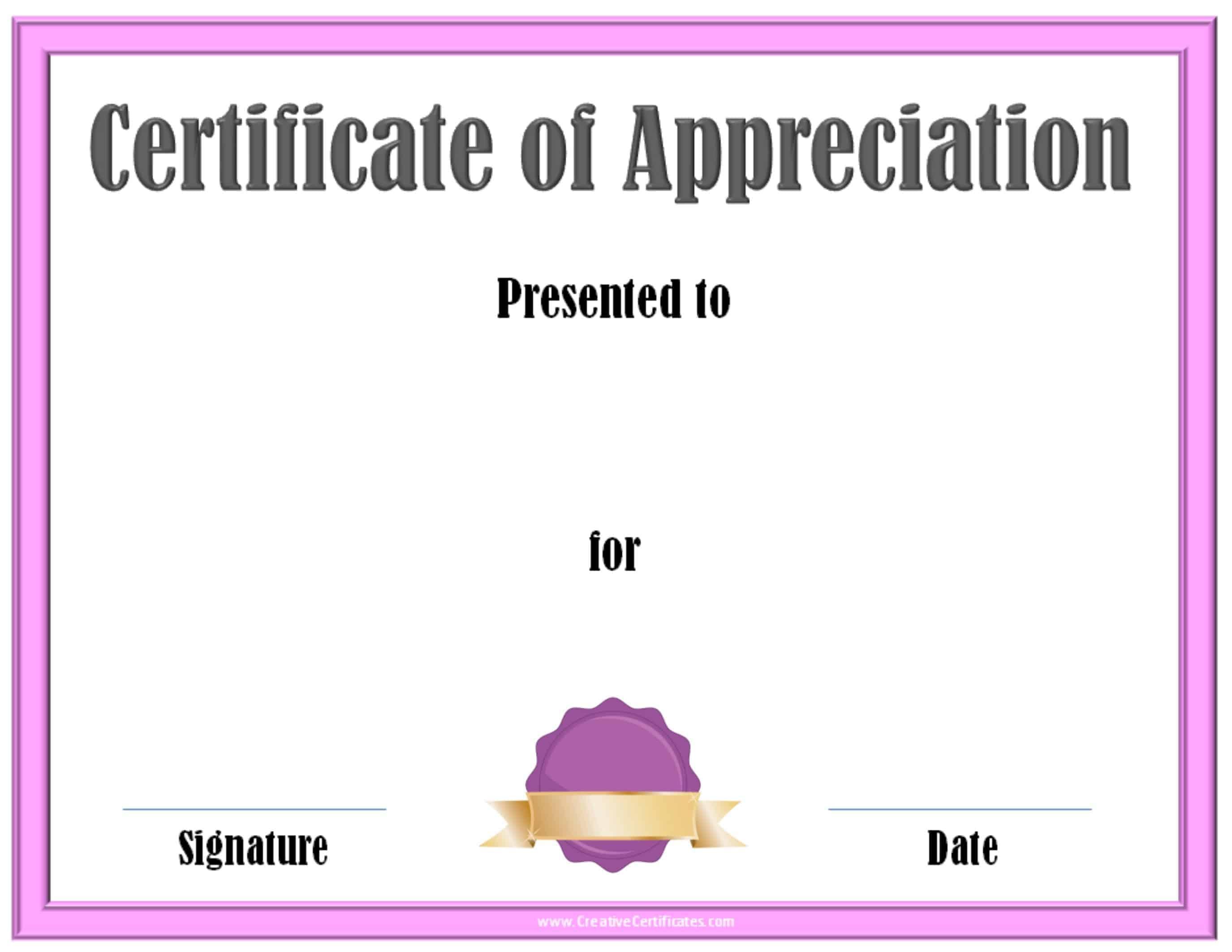 Appreciation Certificates Templates free printable certificates – Certificate of Appreciation Templates Free Download