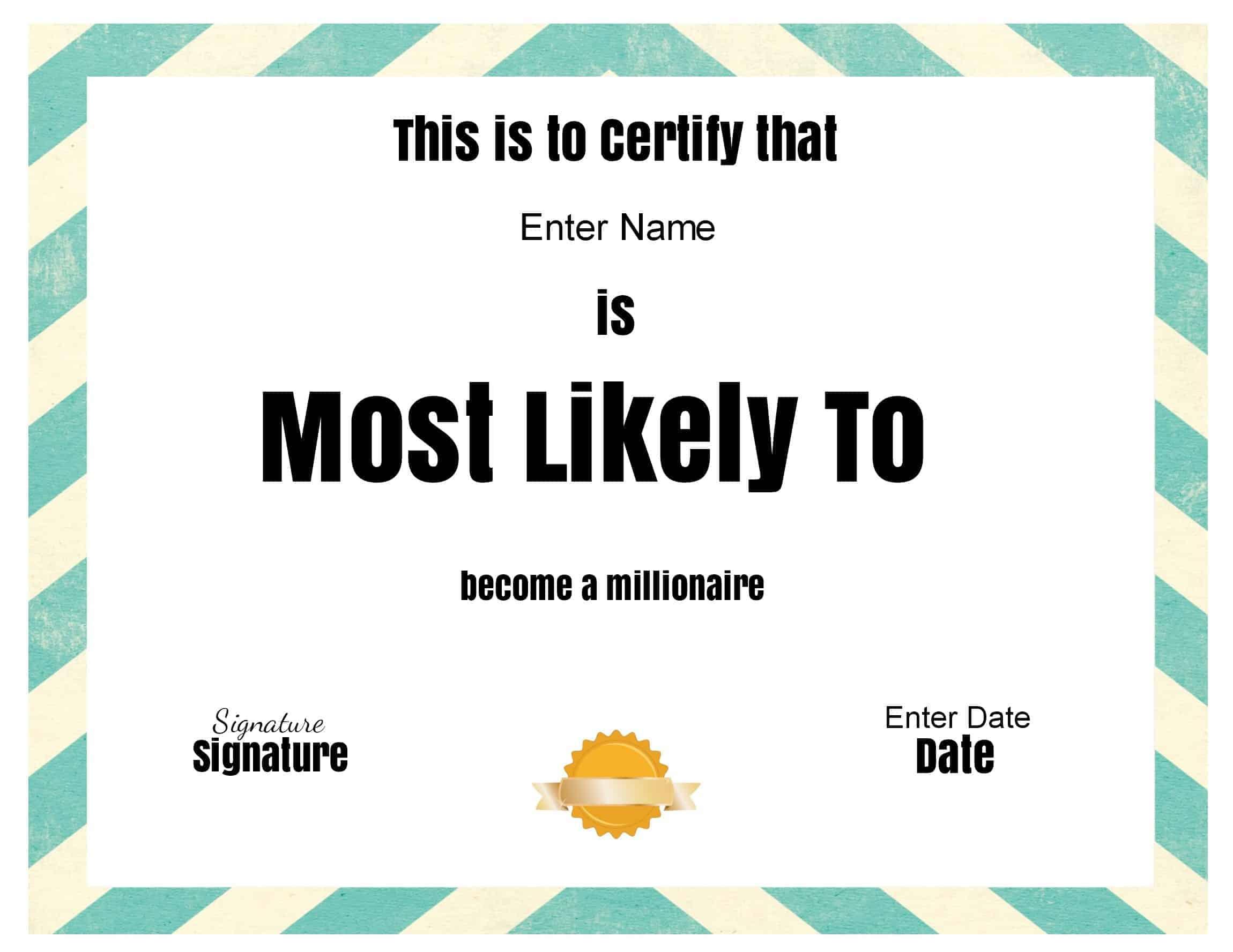 Free Printable Customizable Certificates Templates