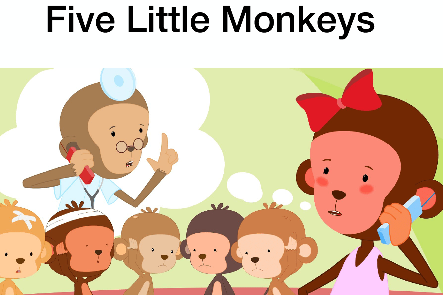 Song Five Little Monkeys And Flashcards Creative