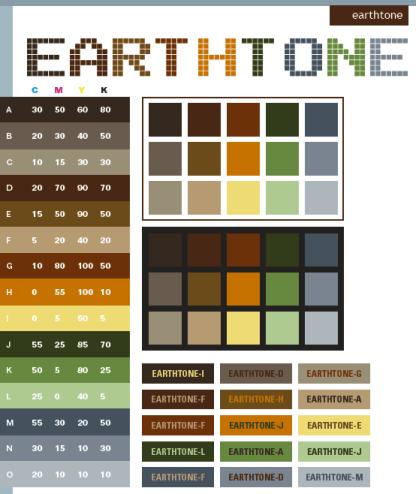 Diagram warna earthy tone. Kamu bisa lihat lebih jelasnya di Creative Color Schemes.