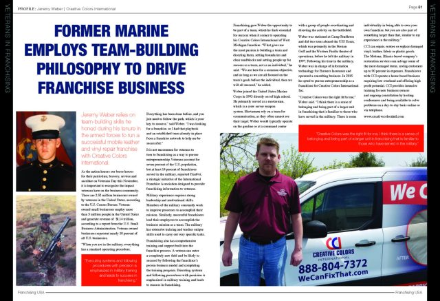 Jeremey Weber featured in Franchising USA Magazine-Veterans Edition