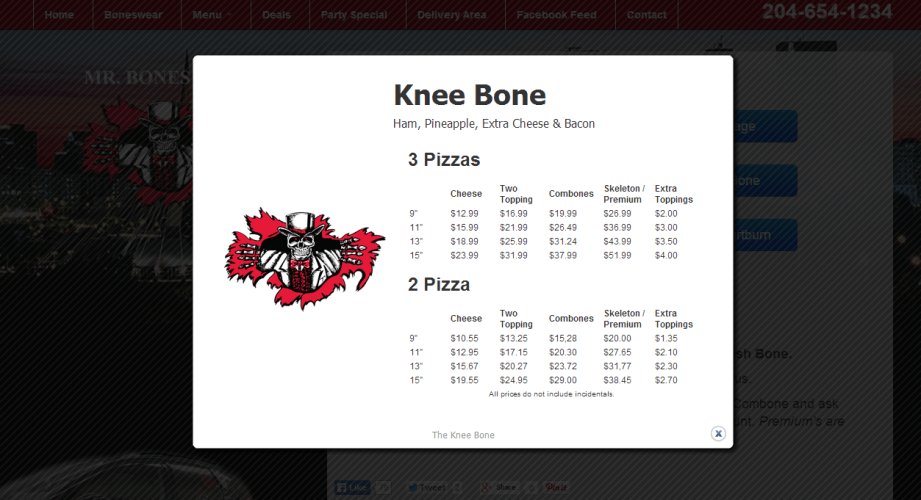 Mr. Bones Menu Item