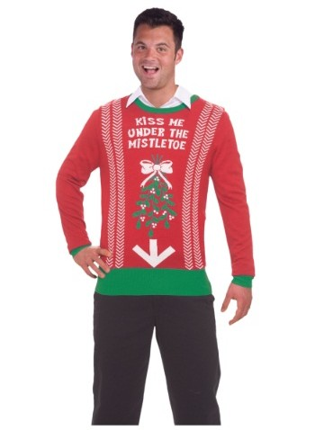 mens mistletoe ugly christmas sweater