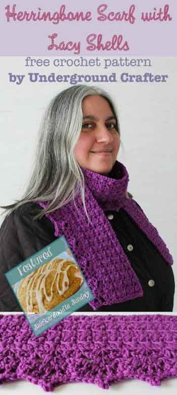 Herringbone Lacy Shell Scarf Snickerdoodle Linky Party|Creative Crochet Workshop