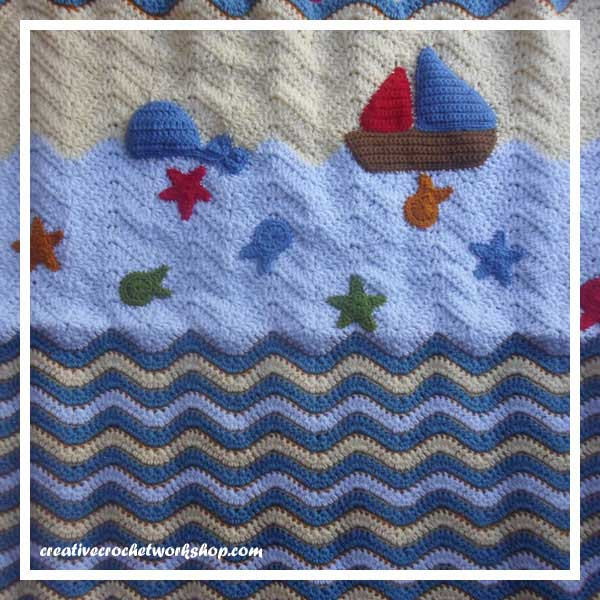 LITTLE SAILOR SET PART THREE|OCEAN BLANKET WITH APPLIQUES|CREATIVE CROCHET WORKSHOP