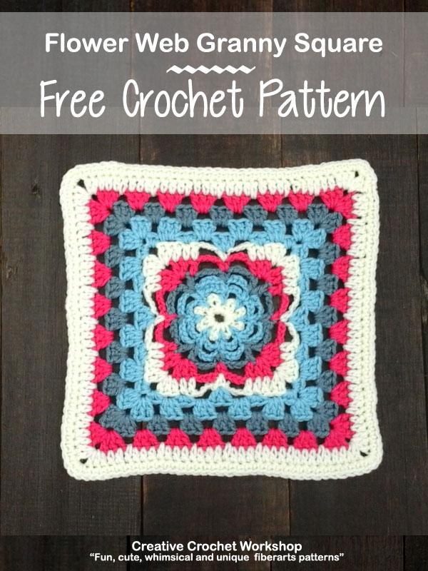 Flower Web Granny Square | Creative Crochet Workshop @creativecrochetworkshop #freecrochetpattern #grannysquare