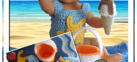 Baby Doll Beach Themed Set | Crissy's Doll Boutique @crissysdollboutique 43cm (17 inch) baby doll