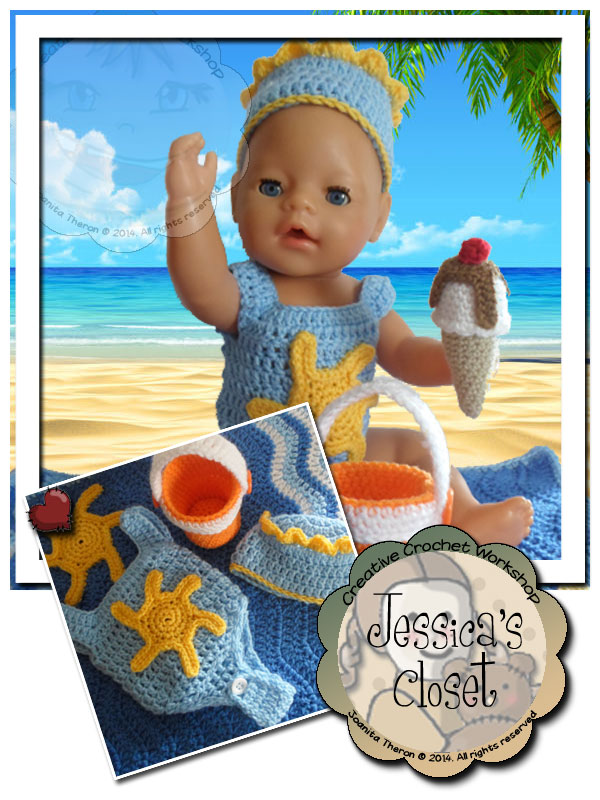 Baby Doll Beach Set | Crissy's Doll Boutique @crissysdollboutique 43cm (17 inch) baby doll