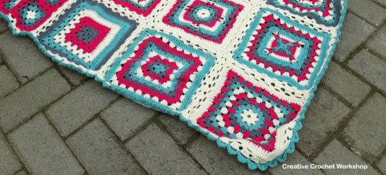 Crochet A Block Afghan 2017 | Creative Crochet Workshop @creativecrochetworkshop #freecrochetpattern #grannysquare