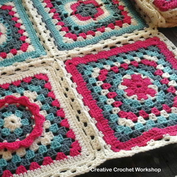 Crochet A Block 2017 Granny Joining Method | Creative Crochet Workshop @creativecrochetworkshop #freecrochetpattern #grannysquare