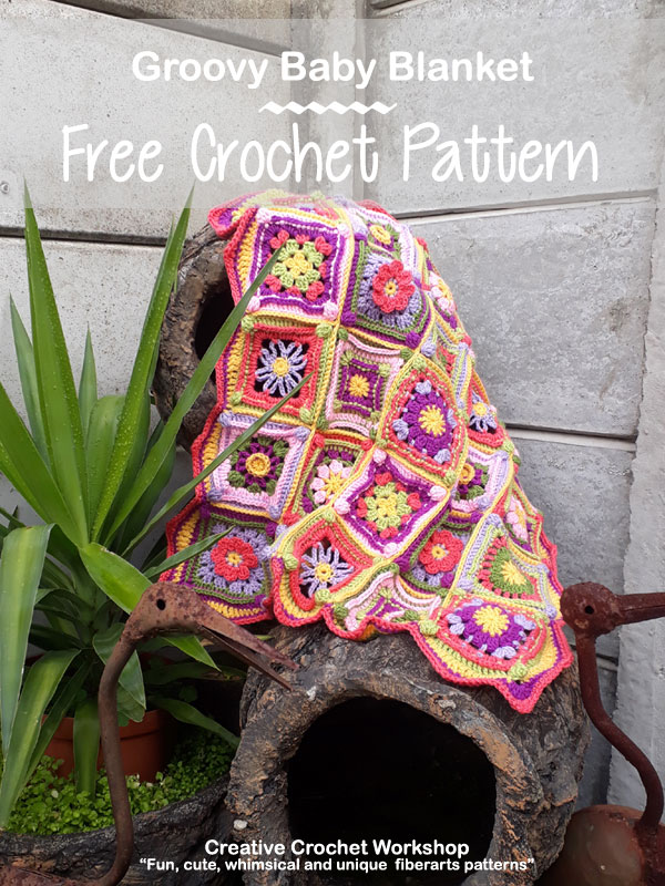 Groovy Baby Blanket - Free Crochet Pattern | Creative Crochet Workshop @creativecrochetworkshop #grannysquare #freecrochetpattern #groovygrannysquarecal