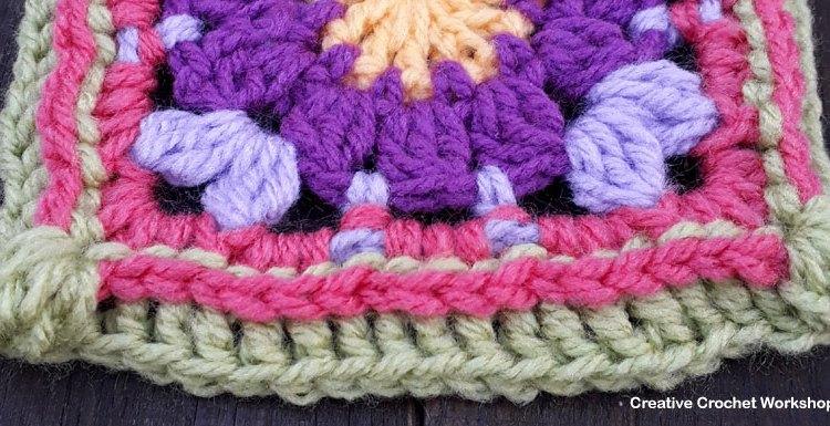 Peace Petal Flower GrannySquare - Free Crochet Pattern   Creative Crochet Workshop @creativecrochetworkshop #grannysquare #freecrochetpattern #groovygrannysquarecal