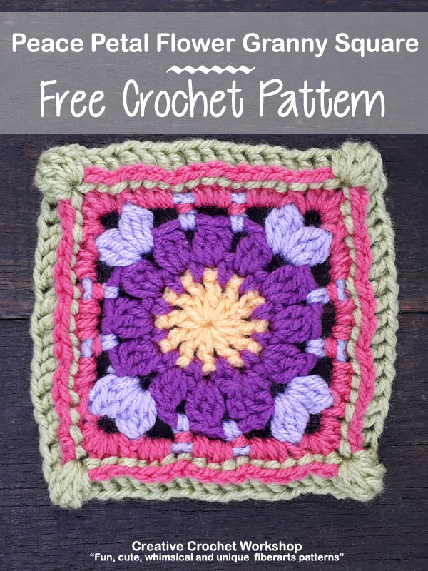 Peace Petal Flower Granny Square - Free Crochet Pattern | Creative Crochet Workshop @creativecrochetworkshop #grannysquare #freecrochetpattern #groovygrannysquarecal