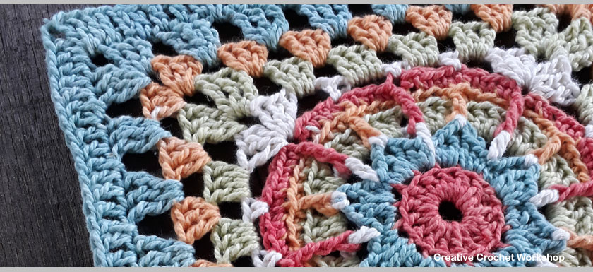 Galaxy star Afghan Square | Creative Crochet Workshop @creativecrochetworkshop #freecrochetpattern #grannysquare #afghansquare #crochetalong #ccwcrochetablock2018