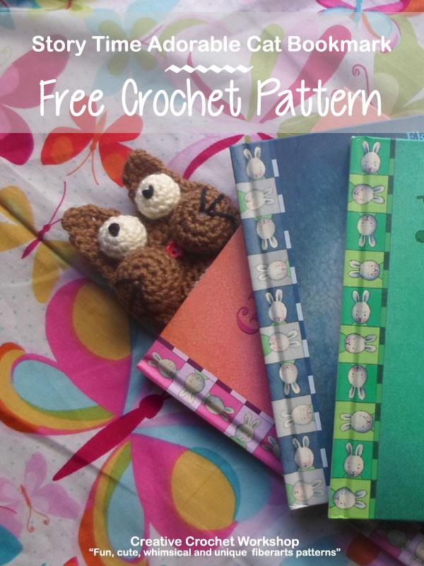 Story Time Adorable Cat Bookmark | Creative Crochet Workshop #freecrochetpattern #crochet @creativecrochetworkshop