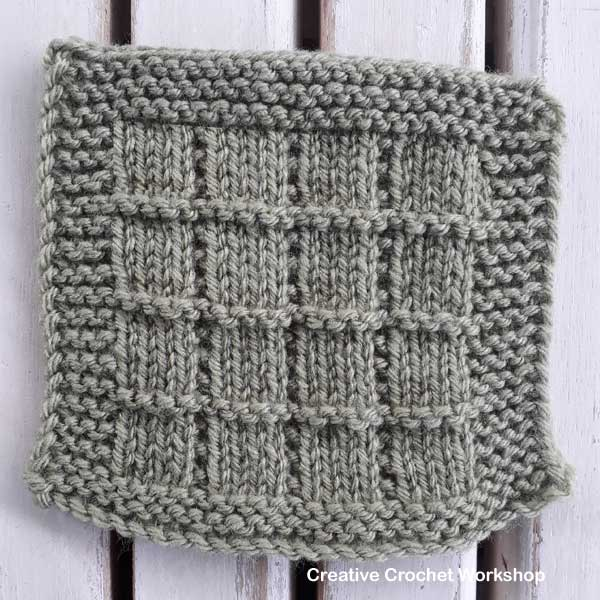 Tile Stitch Knit Square - Free Knitting Pattern | Creative Crochet Workshop #KALCorner