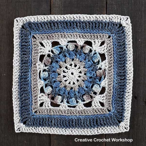 Daria Afghan Square | Creative Crochet Workshop @creativecrochetworkshop #freecrochetpattern #grannysquare #afghansquare #crochetalong #ccwcrochetablock2018