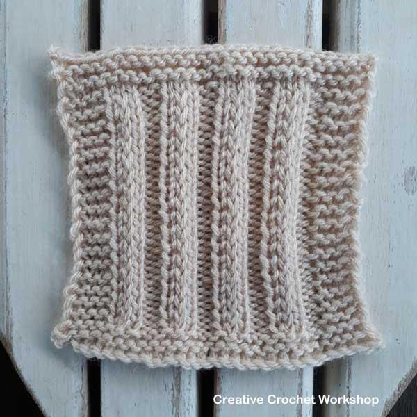Fancy Slip Stitch Rib Knit Square - Free Knitting Pattern | Creative Crochet Workshop #KALCorner
