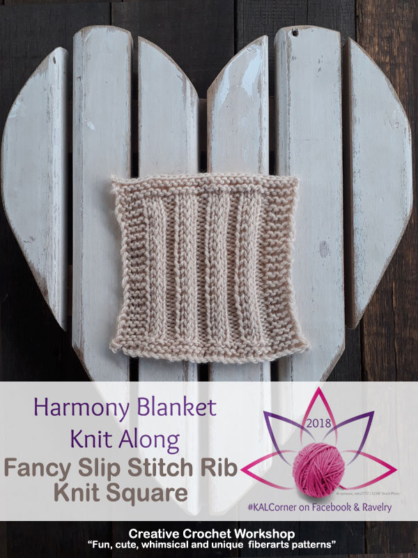 Fancy Slip Stitch Rib Knit Square | Creative Crochet Workshop