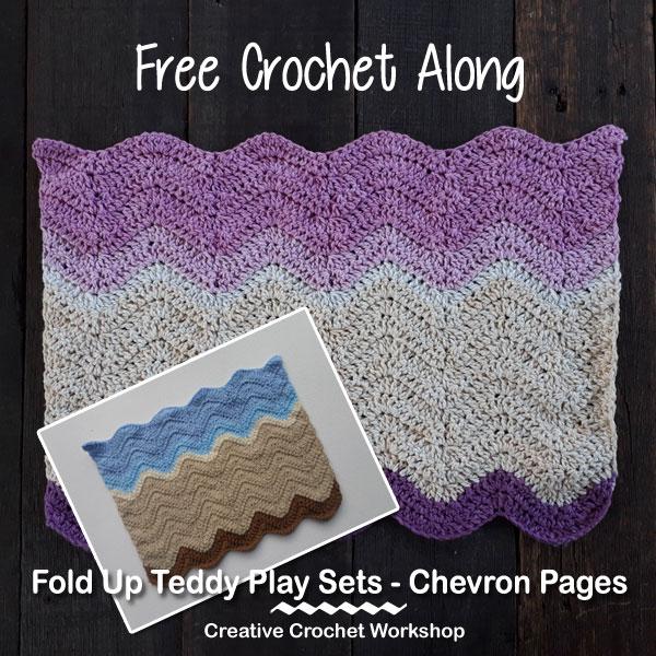 Fold Up Teddy Crochet Play Set Chevron Pages Pattern| Free Crochet Along | Creative Crochet Workshop #crochet #crochetalong #crochetplay