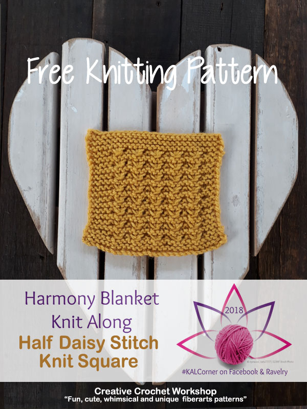 Half Daisy Stitch Knit Square - Free Knitting Pattern | Creative Crochet Workshop #KALCorner
