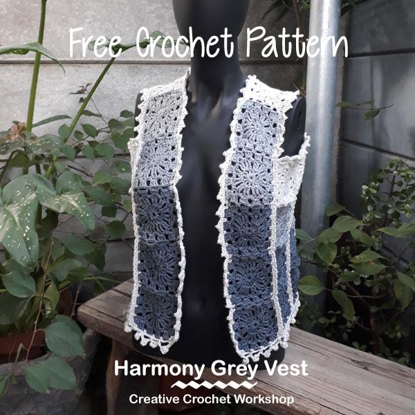 The Harmony Grey Vest | Creative Crochet Workshop #freecrochetpattern