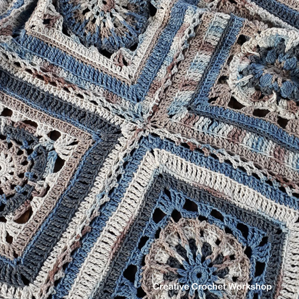 The Oceania Throw joining | Creative Crochet Workshop @creativecrochetworkshop #freecrochetpattern #grannysquare #afghansquare #crochetalong #ccwcrochetablock2018
