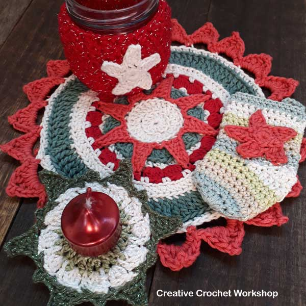 Christmas Sun Star Coasters - Free Crochet Pattern | Creative Crochet Workshop #2018ChristmasInJulyCAL