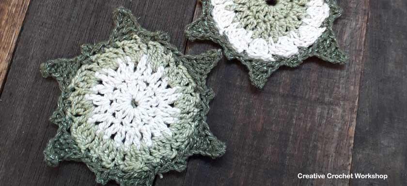 Christmas Sun Star Coasters - Free Crochet Pattern   Creative Crochet Workshop #2018ChristmasInJulyCAL