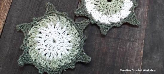 Christmas Sun Star Coasters - Free Crochet Pattern | Creative Crochet Workshop #2018ChristmasInJulyCAL