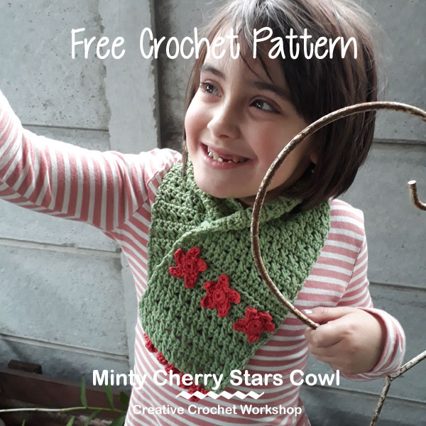 Minty Cherry Stars Cowl - Free Crochet Pattern | Creative Crochet Workshop #CrochetChristmasInJuly