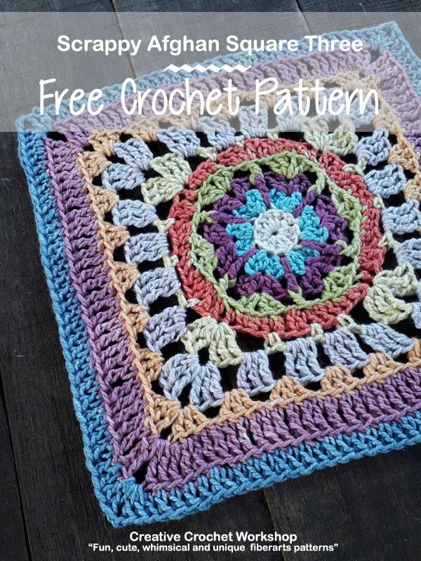 Scrappy Afghan Square 2018 Number Three tutorial - Free Crochet Pattern   Creative Crochet Workshop @creativecrochetworkshop #freecrochetpattern #grannysquare #afghansquare #crochetalong #ccwcrochetablock2018